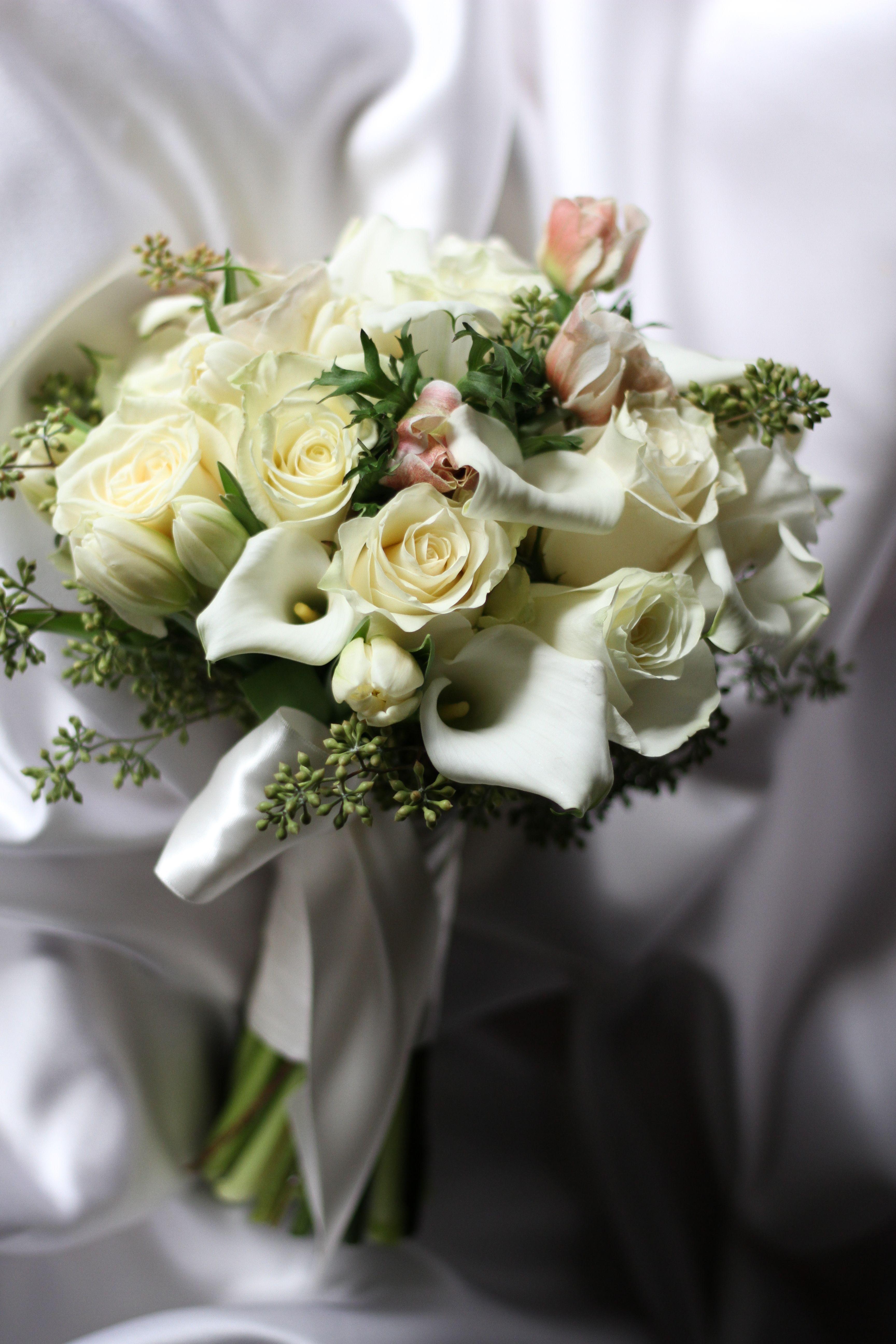Satin White Bouquet Floral Design Winston Flowers Wedding
