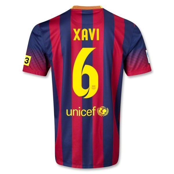 13 14 Barcelona #6 XAVI Home Soccer Jersey Shirt   Soccer