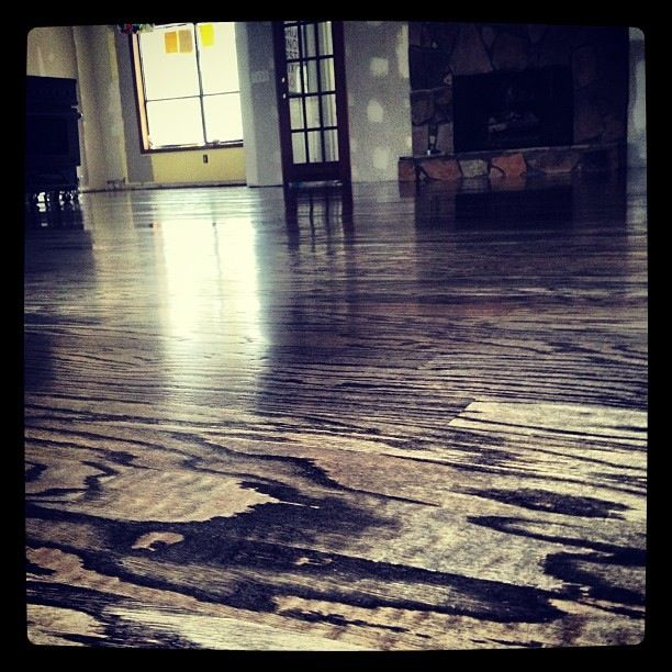 Engineered Red Oak Floors With Bona Ebony Stain And Bona W