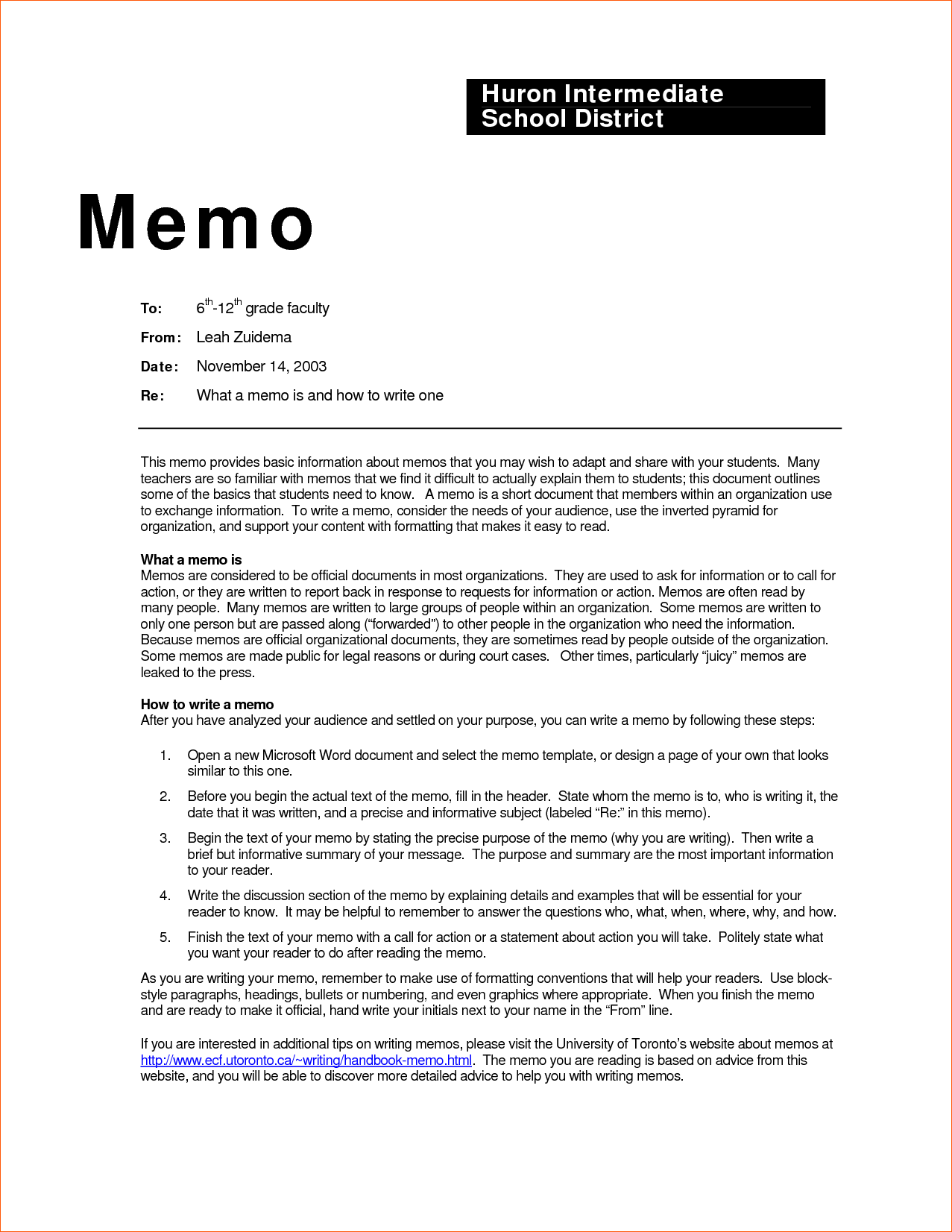 Business Memo Examples Inter Office Sample Example Contract