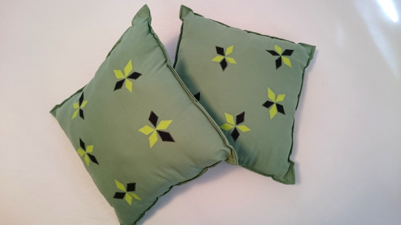 pastel green pillow pair, neon green & black diamond patches