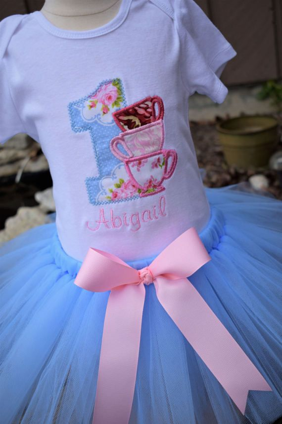 Tea Party Birthday Tutu Set... Includes Tutu and Embroidered Top ...