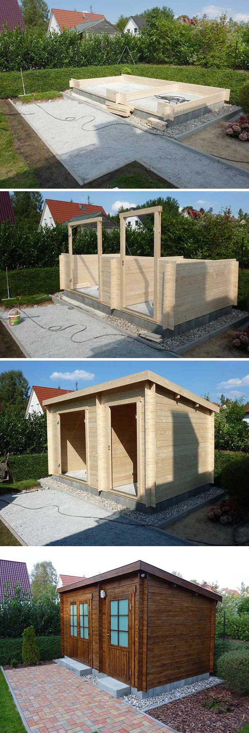 Aufbau eines Gartenhauses mit PodestFundament