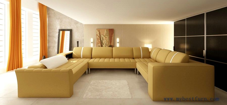 Free Shipping Home Sofa, Latest Modern Leather Sectional Sofa L Shaped  Corner Sofa Set With Confortable Top Grain Leather 2020 | D 多人位沙发 |  Pinterest ...
