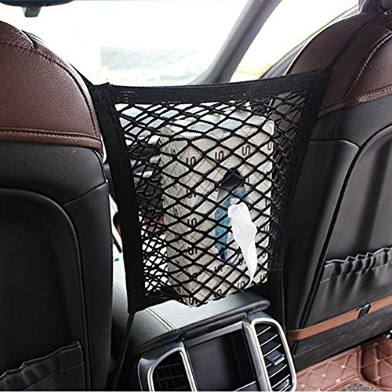 Pet Set Barrier Net Storage Mesh Universal 2 Layer Car Seat Cargo Net Hook Pouch Holder Stretchable Back Seat Pet Do Car Storage Car Seat Organizer Elastic Car