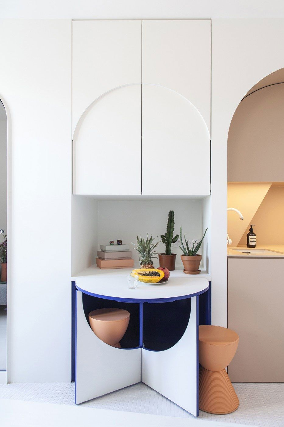 This Playful Parisian Aerie Is Just 120 Square Feet Apartment Design Interior Micro Apartment