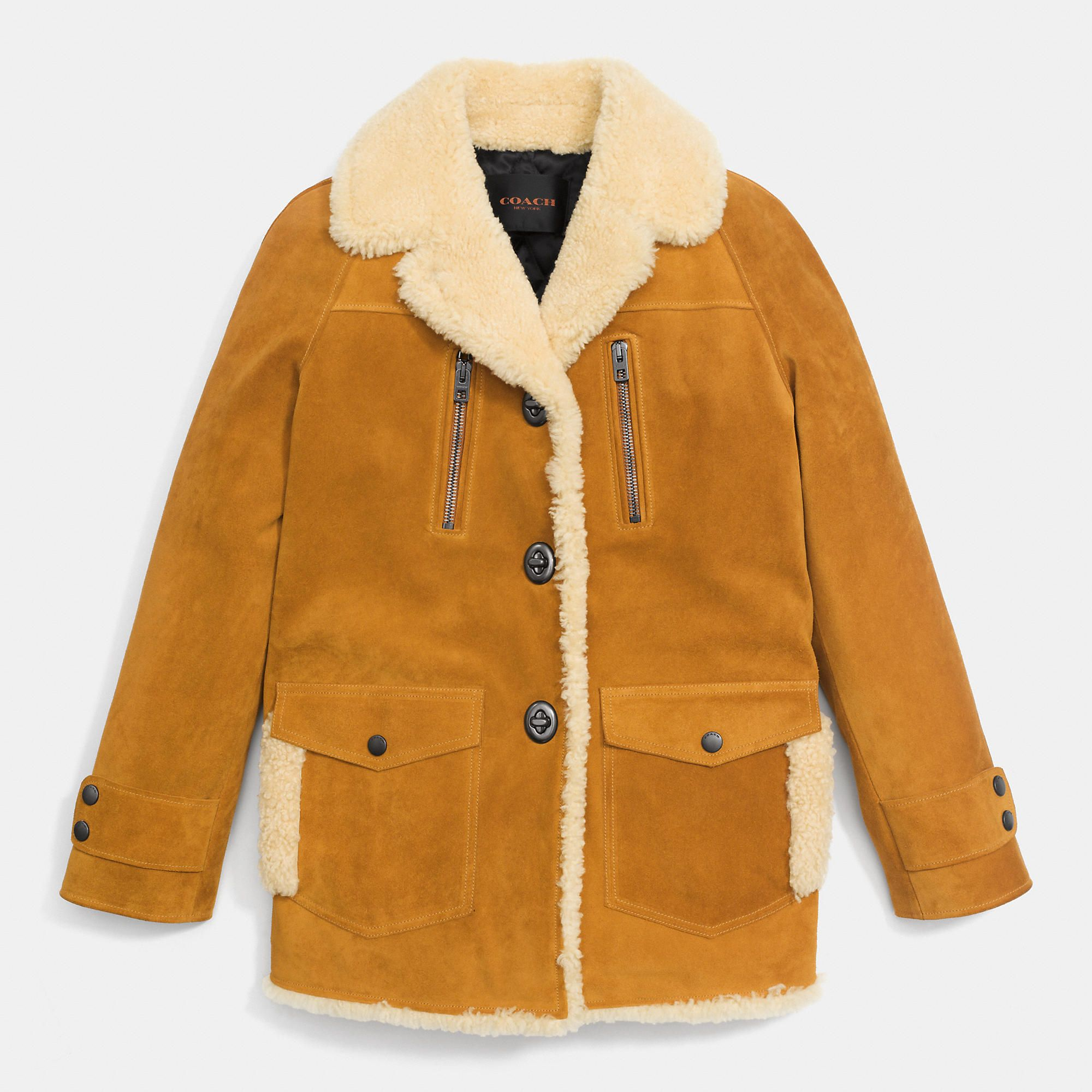 e7bfb25a18fea Coach   Yellow Drifter Jacket   Lyst   Coach   Jackets, Suede jacket ...