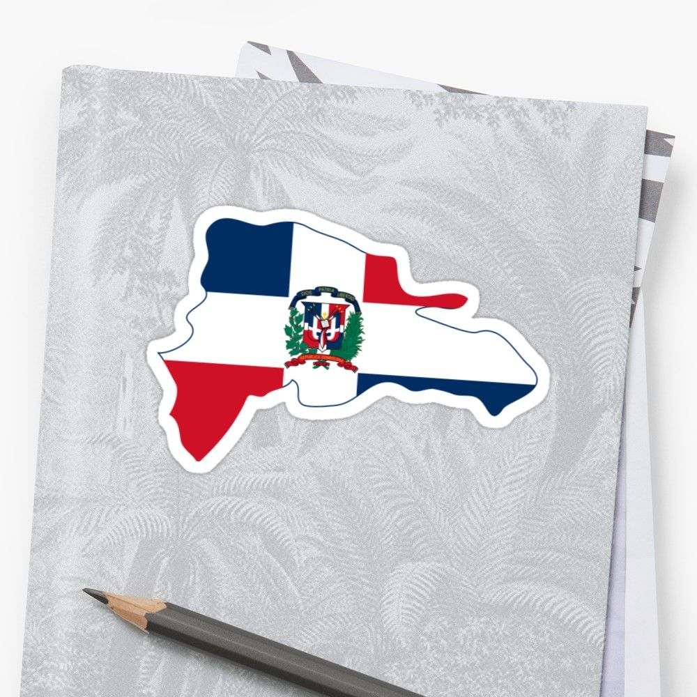 Flag map of the dominican republic sticker by abbeyz71