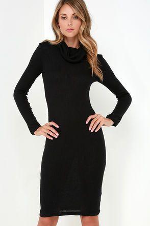b5d58204cdf Glamorous Neck and Neck Black Long Sleeve Sweater Dress