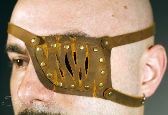 Pirate LARP. Large pirate eye patch made of thick leather cosplay