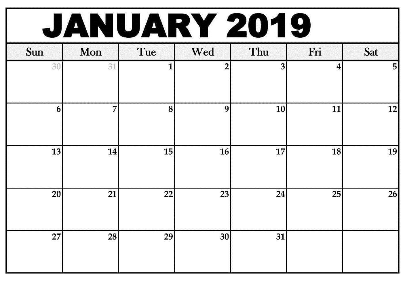 January Calendar Printable Schedule
