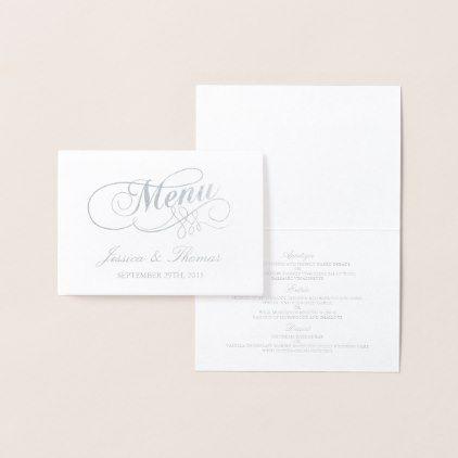 Chic Silver Foil White Wedding Menu Template Zazzle Com Wedding Menu Cards Wedding Menu Template Menu Card Template