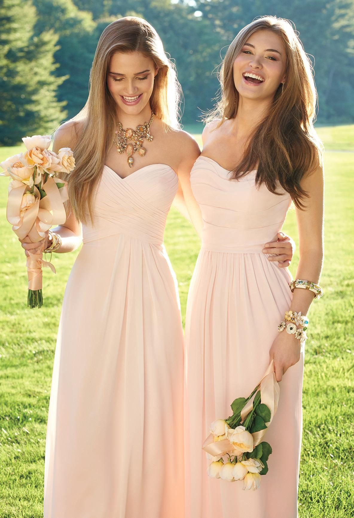 Strapless crisscross bodice dress wedding shopping and weddings blushing beauties in our new bridesmaid dresses shop our chic collection now for your best ombrellifo Images