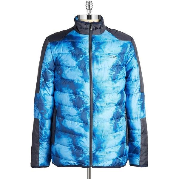 Calvin Klein Performance Printed Puffer Coat (€60) ❤ liked on Polyvore featuring men's fashion, men's clothing, men's outerwear, men's coats and blue