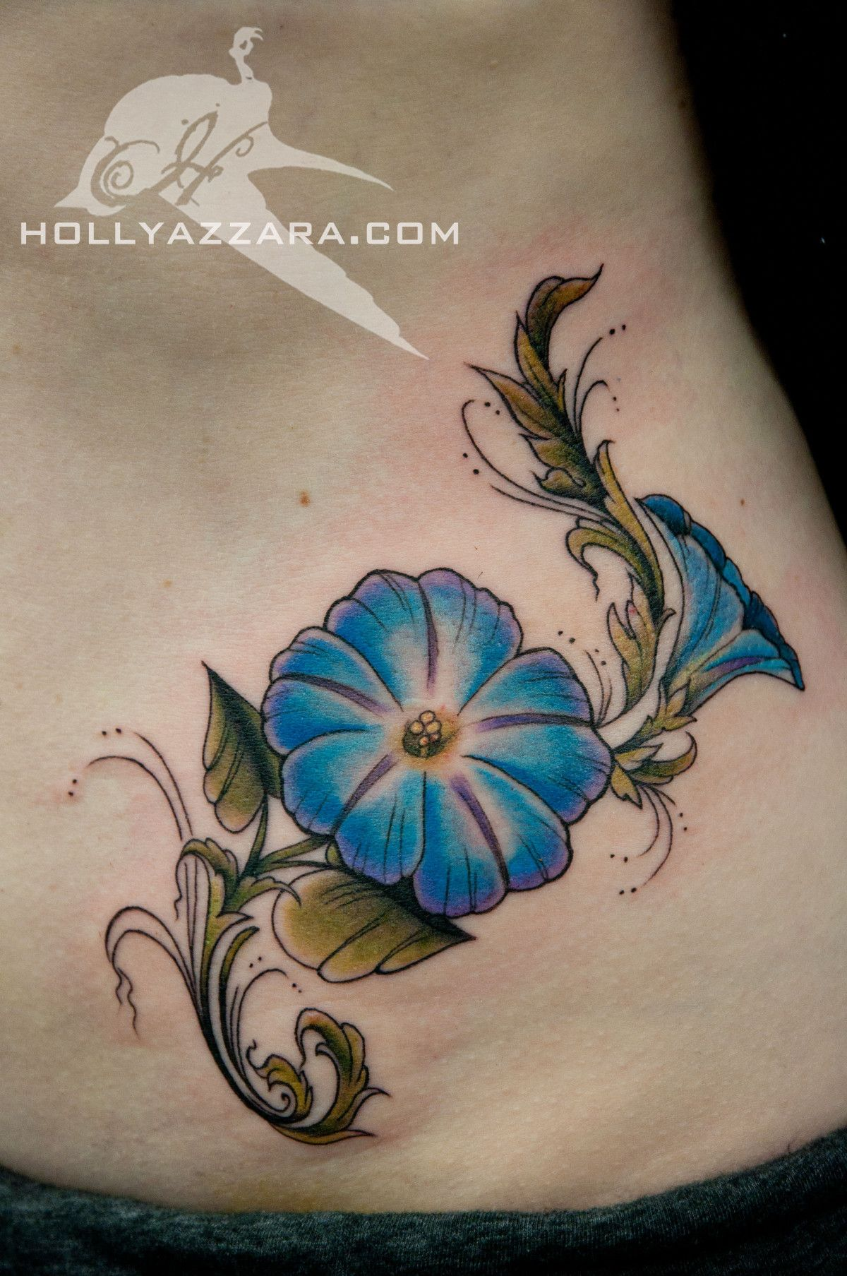 Morning glory color Morning glory tattoo, Vintage tattoo