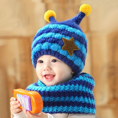 Cute Knitted Hat Scarf Set Bee Star Striped Fleece Warm Beanie Cap for Baby