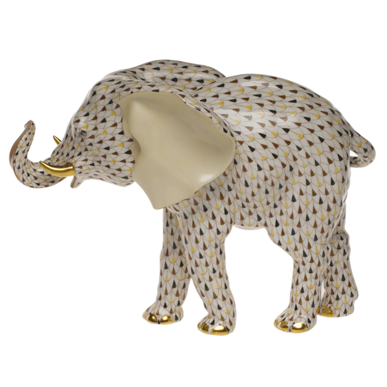 Herend Kangaroo Hand Painted Porcelain Figurine In Pink: Herend Porcelain Mosaic Large Elephant, Hand Painted In