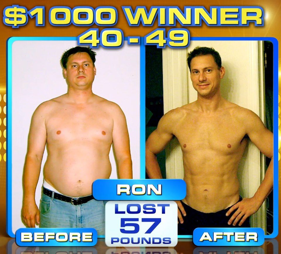 """:::September Winner::: Ron B. lost 57 lbs & won a thousand dollars in The Beachbody Challenge! ---> """"I went from having a round belly, to having a noticeable 6 pack for the first time in my life. I HAVE ABS NOW!!! """""""