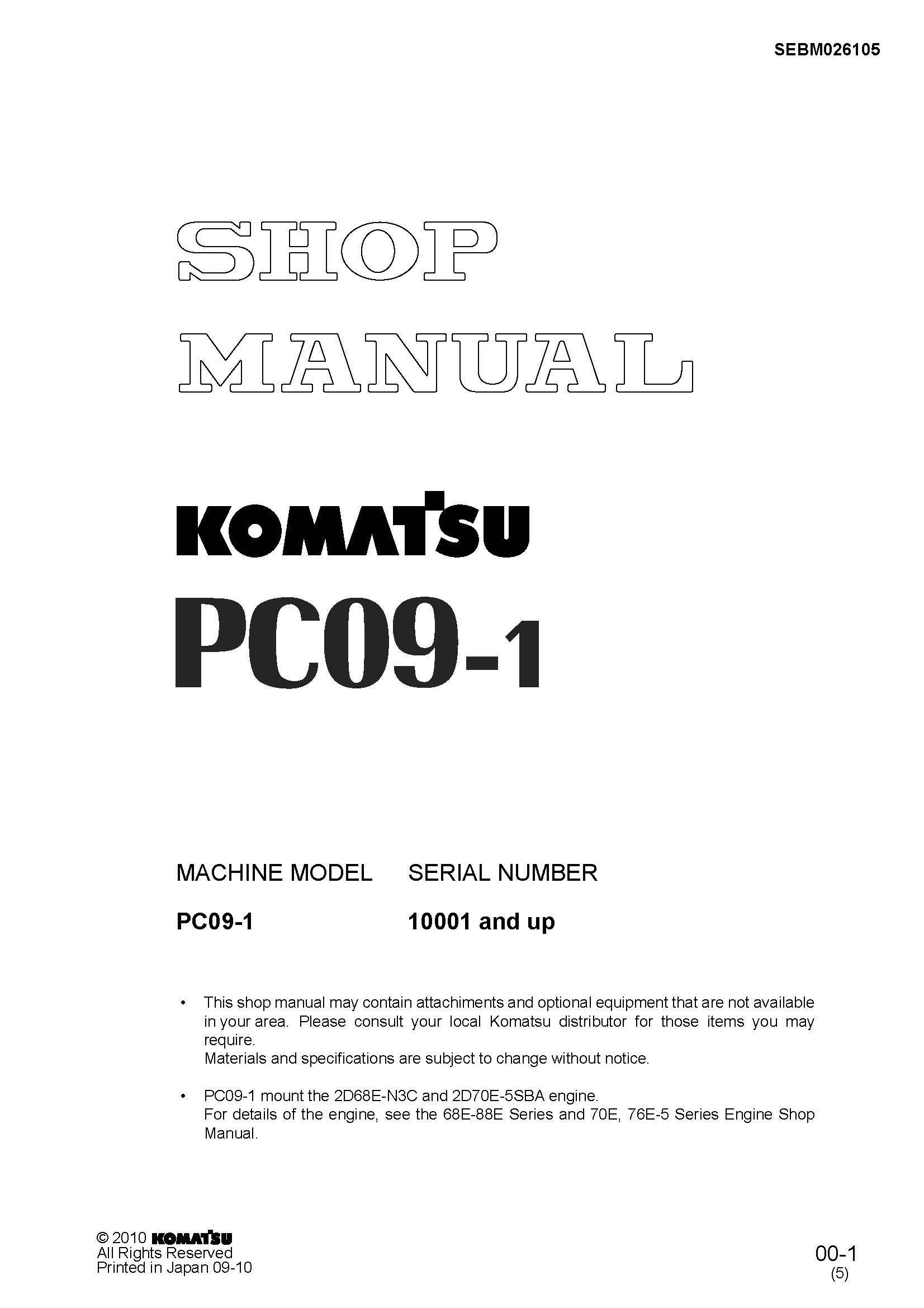 Komatsu Pc09 1 Hydraulic Excavator Workshop Repair Service Manual Pdf Download Service Manual Repair Manual Pdf Download Hydraulic Excavator Komatsu Excavator