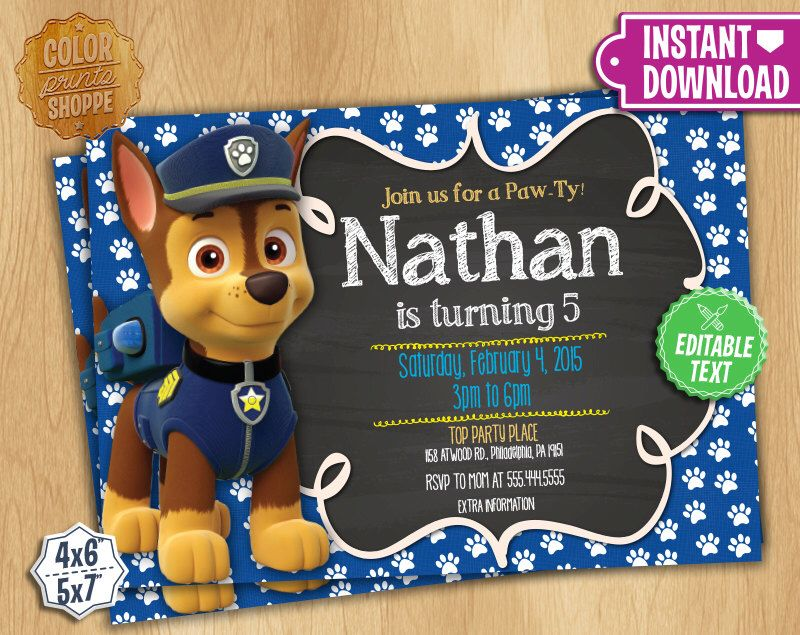 Paw Patrol Invitation - EDITABLE TEXT - Chase Customizable Paw - best of invitation birthday party text