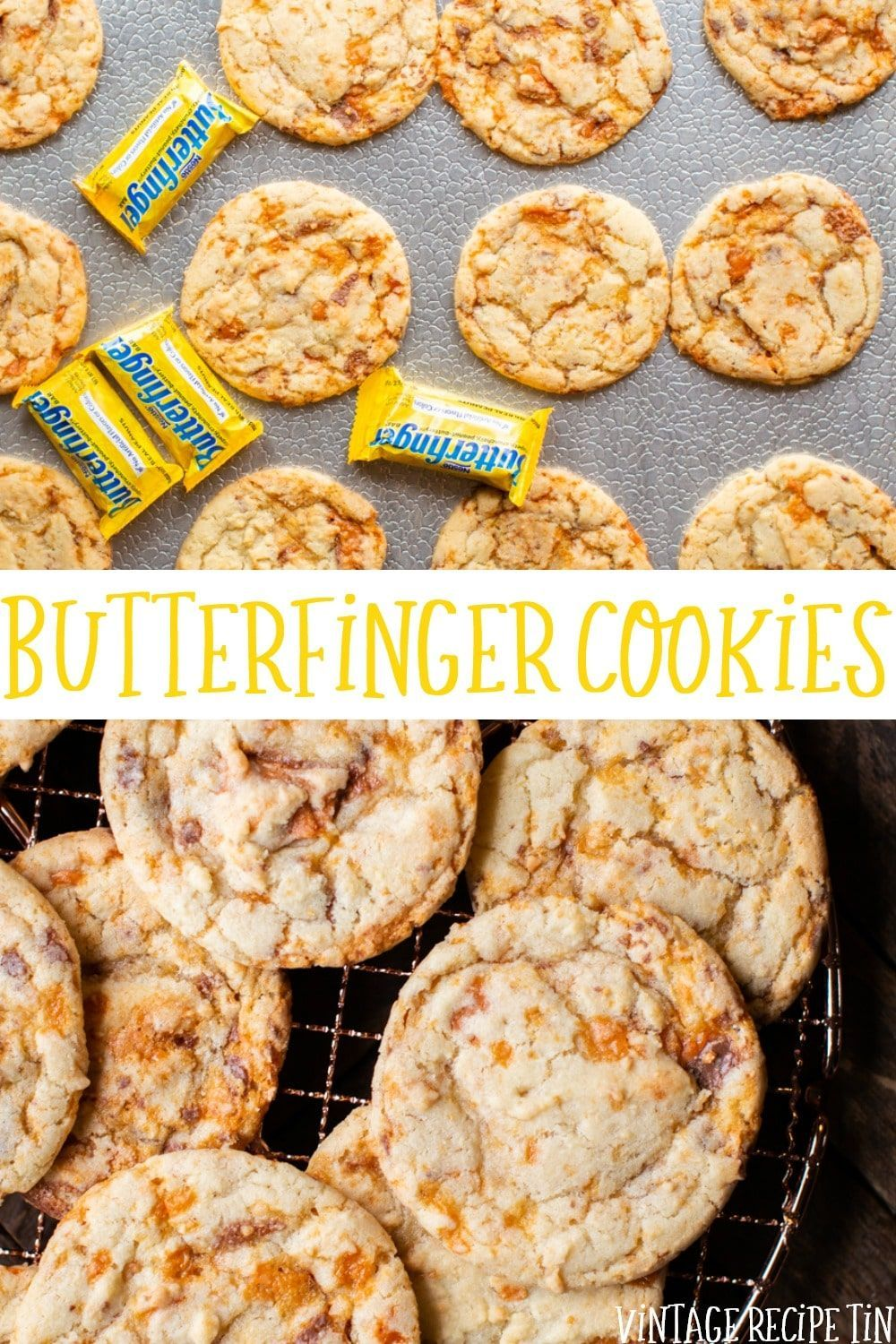 Butterfinger cookies are sugar cookies with chopped up butterfingers. You won't regret making these! - Vintage Recipe Tin