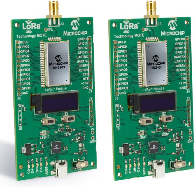 US and EU versions of Microchip LoRa Technology Motes (Click