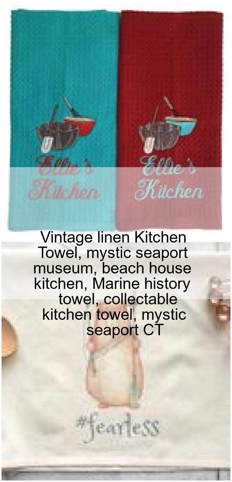 Vintage linen Kitchen Towel mystic seaport museum beach house kitchen Marine history towel Vintage linen Kitchen Towel mystic seaport museum beach house kitchen Marine hi...