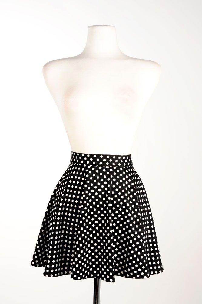 Swim Skirt in Black Polka Dot - Plus Size