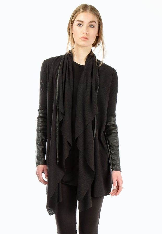 Ovate Leather Sleeve Draped Cardigan Apparel Pinterest Drape