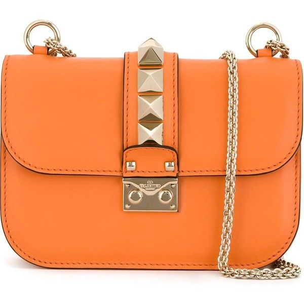 Valentino Garavani 'Glam Lock' shoulder bag (100.895 RUB) ❤ liked on Polyvore featuring bags, handbags, shoulder bags, leather shoulder bag, leather handbags, orange leather handbag, orange purse and shoulder handbags