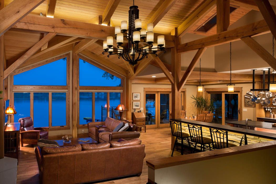 Kalamazoo Michigan Timber Frame Home Walkout Basement Timber Frame Homes Timber House Great Rooms