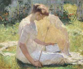 Frank Weston Benson (1862-1951) The Reader signed 'F.W. Benson' (lower left) oil on canvas 25 3/8 x 30 ¼ in. (64.5 x 76.8 cm.) Painted in 1906. New York 22.11.16 $2.5-3.5 million