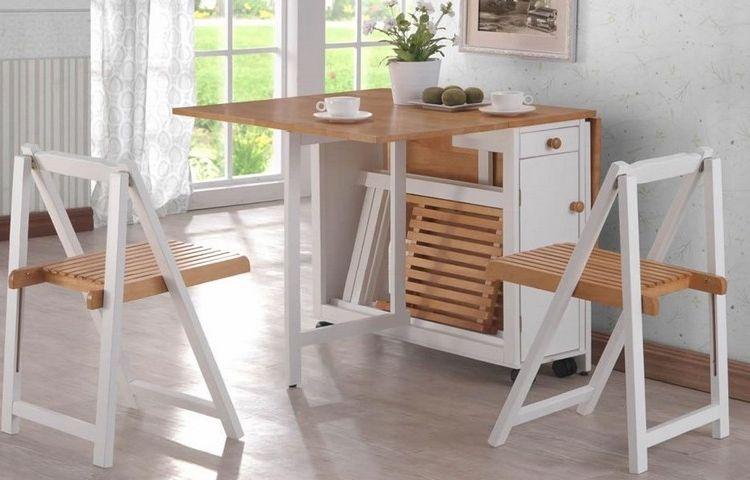 Table Gain Place Bois Plateaux Rabattables Rangement Chaises Pliantes Table Gain De Place Table De Cuisine Pliable Table Pliante