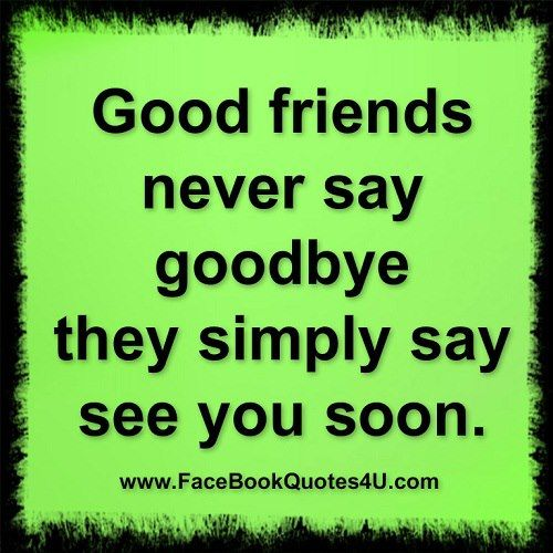 Good Friends Never Say Good Bye