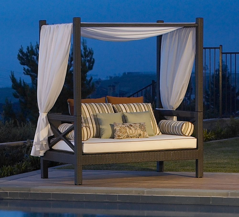 Modern Outdoor Rectangular Canopy With A Canvas Shell And A Set Of White  Mattress Also Colored
