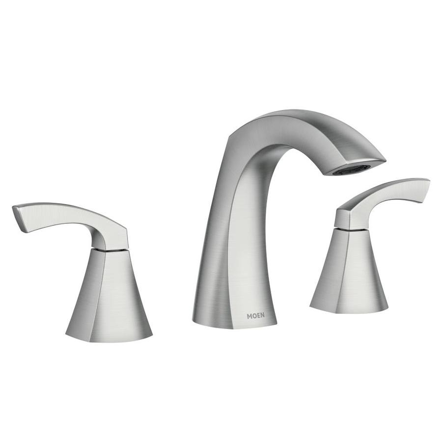 Moen Lindor Spot Resist Brushed Nickel 2 Handle Widespread Watersense Bathroom Sink Faucet With Drain Lowes Com In 2021 Sink Faucets Bathroom Faucets Moen Bathroom Faucets [ 900 x 900 Pixel ]