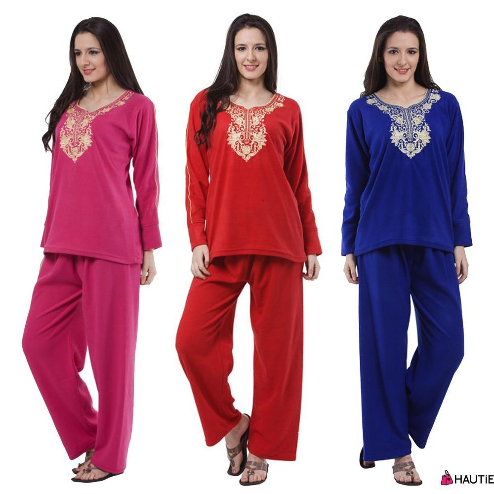 Womens Fleece Long Sleeve Pyjamas Set Ladies Winter Pjs Nightwear Sleepwear 4e8933dfb