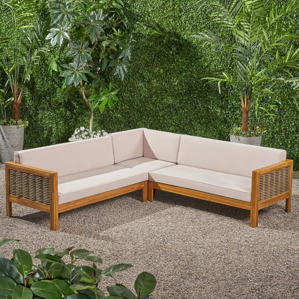 Noble House Linwood Teak Brown 3 Piece Wood And Wicker Outdoor Sectional Set With Beige Cushions 68388 The Home Depot Patio Sectional Wicker Outdoor Sectional Noble House