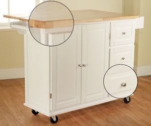 White Kitchen Cart Large Wood Butcher Block Dining Island Drawers Rolling
