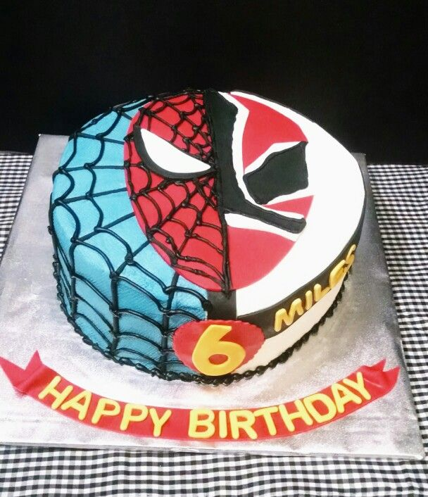 Spiderman and Red Power Ranger Birthday Cake