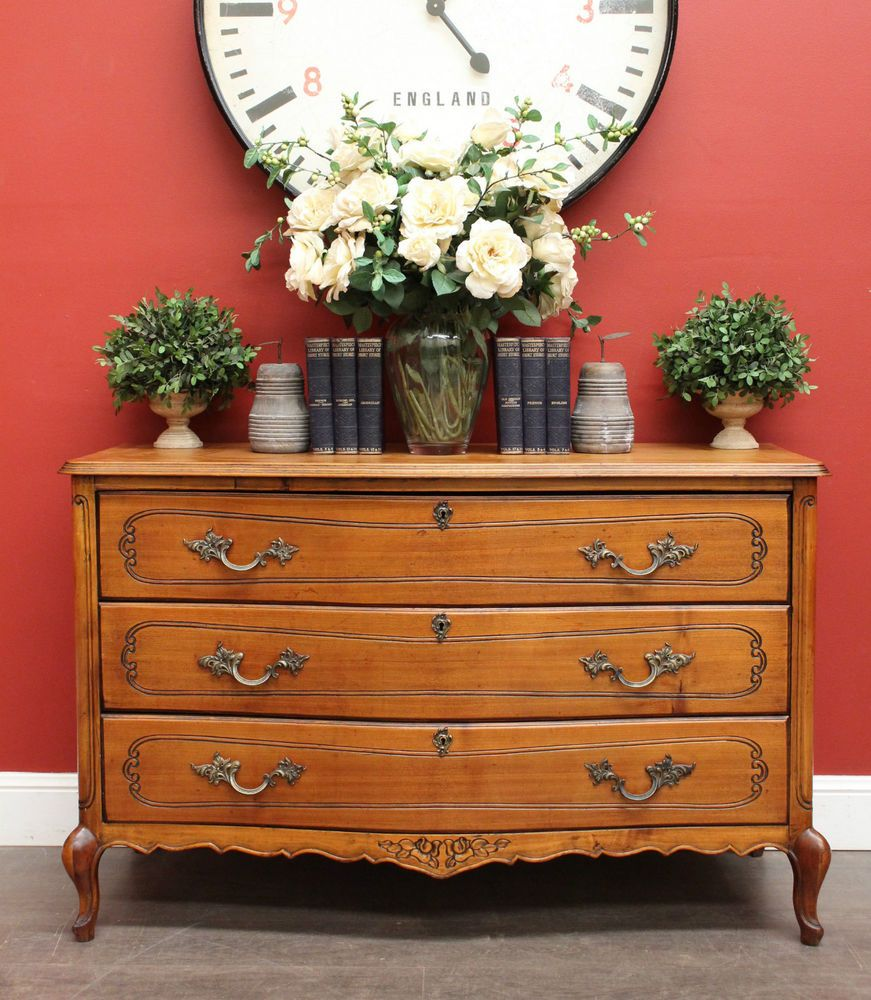 Vintage French 3 Drawer Bed Room Chest of Drawers with Brass Handles ...