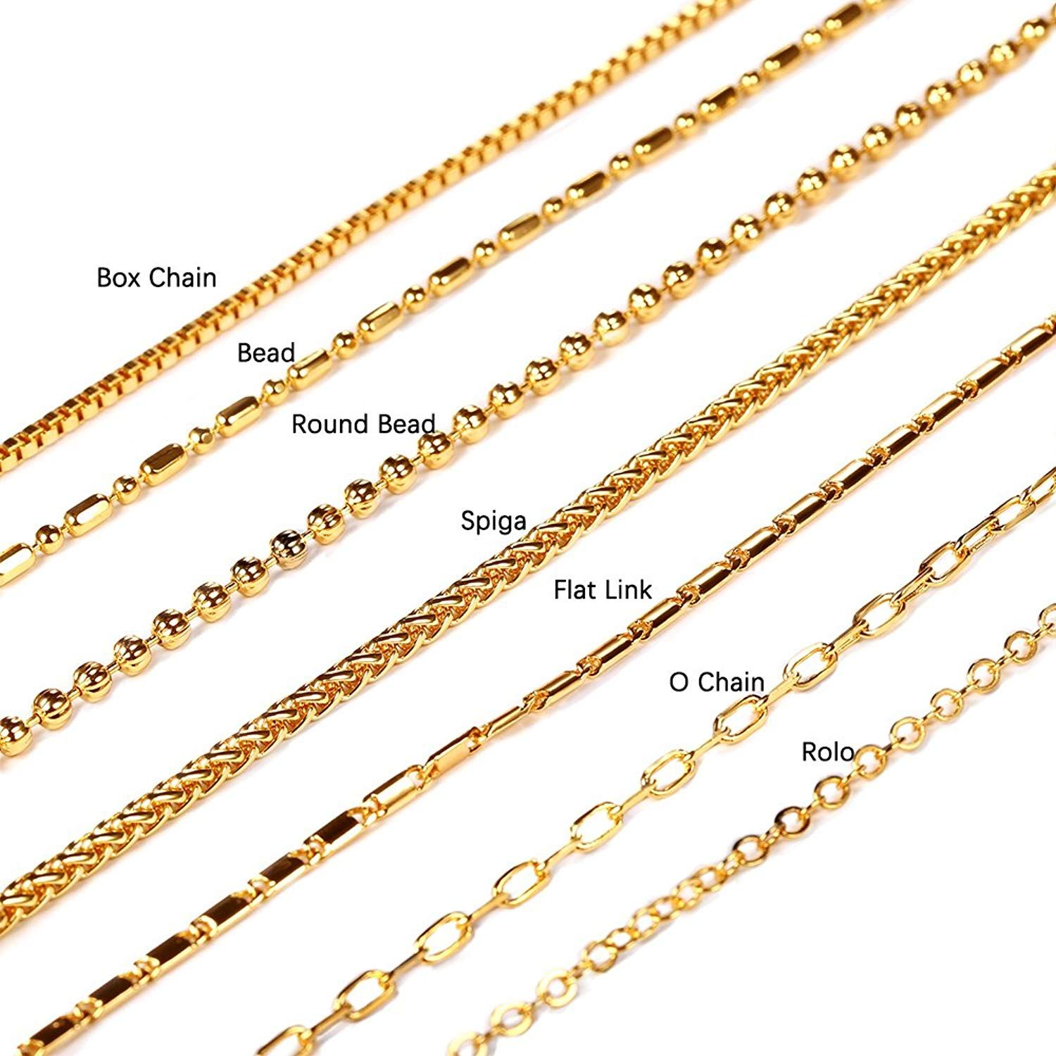 U7 Chain 7 Types Men Women Jewelry Pendant Chain 2mm 3mm Wide 18k Gold Plated Stainless Steel Necklace Necklace Chain Types Gold Necklace Chain Jewellery Chain
