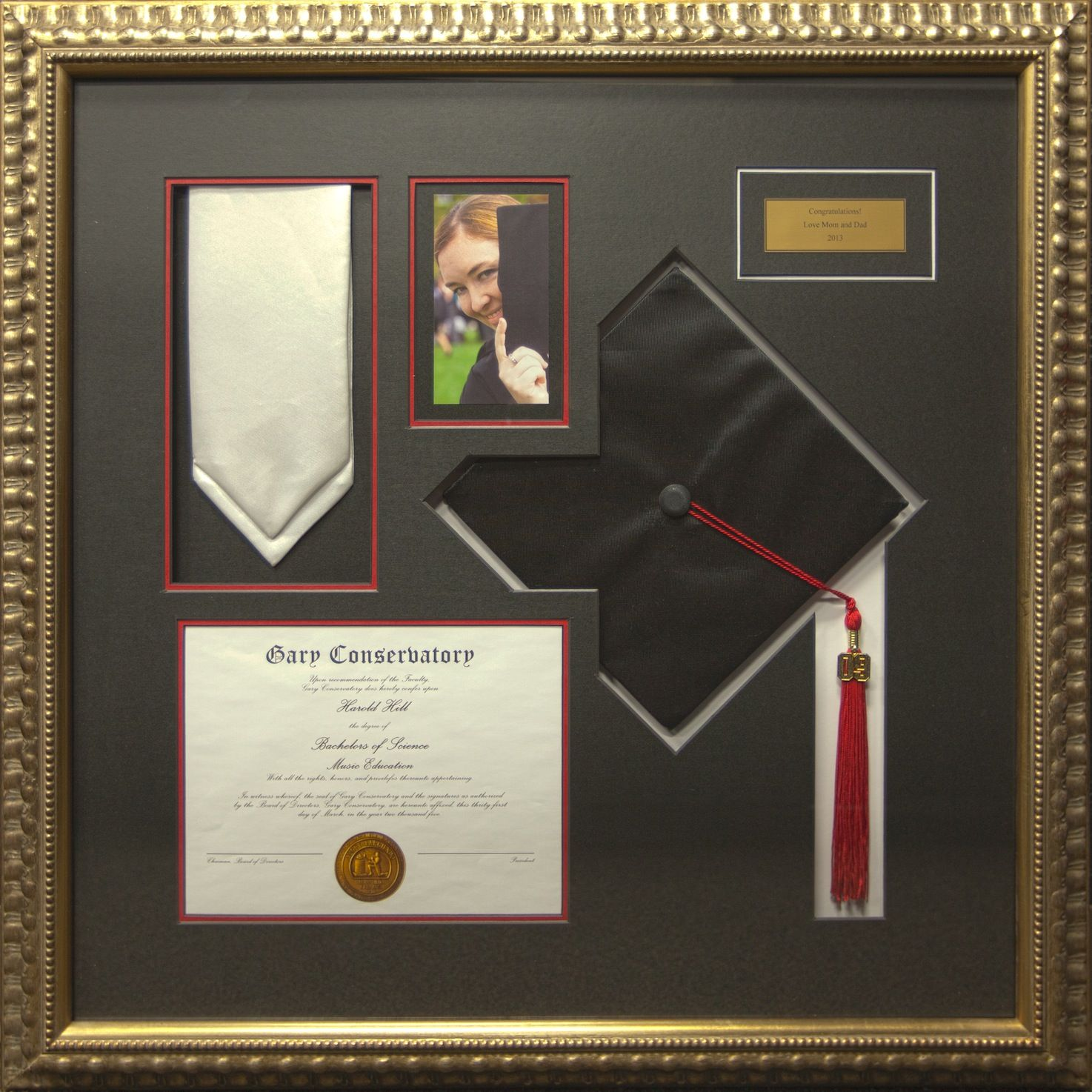 highlight your grads achievement with a customized frame featuring special items like their diploma class