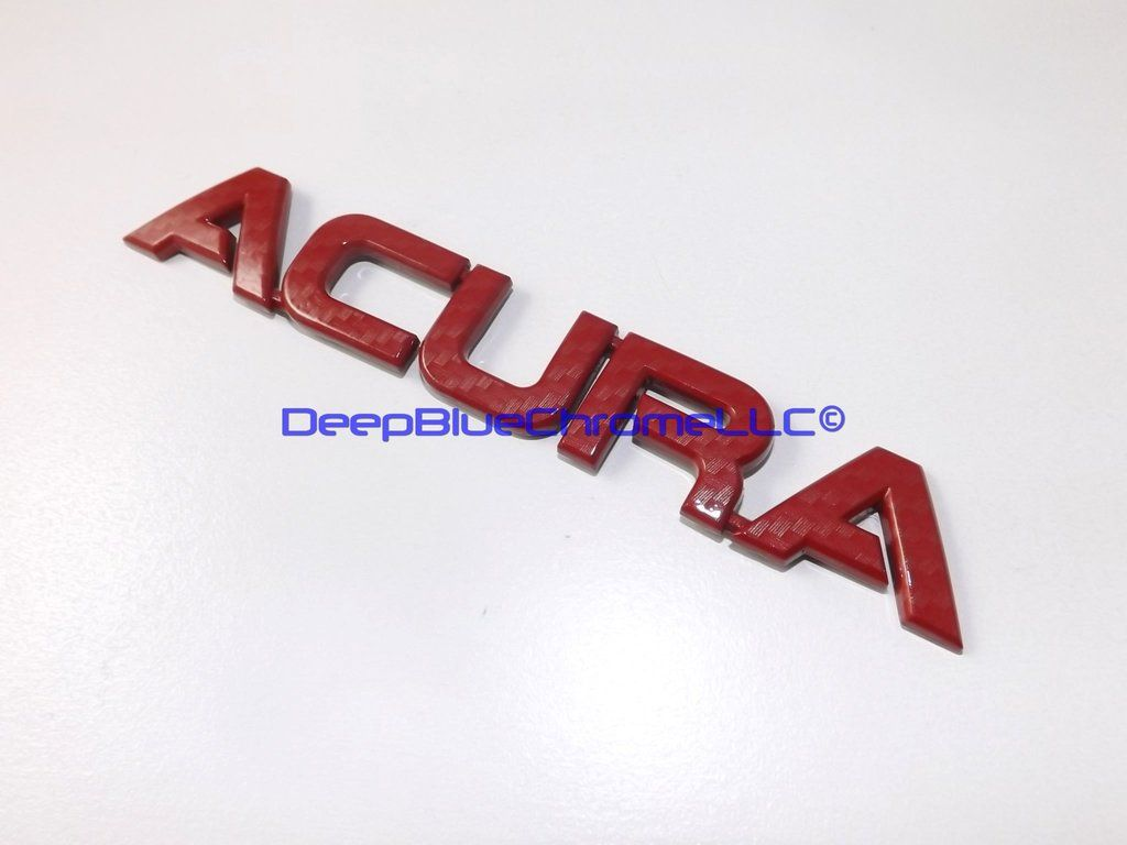 Acura RSX TypeS Red Carbon Fiber Emblem TL TSX RL Badge OEM Rear - Red acura emblem