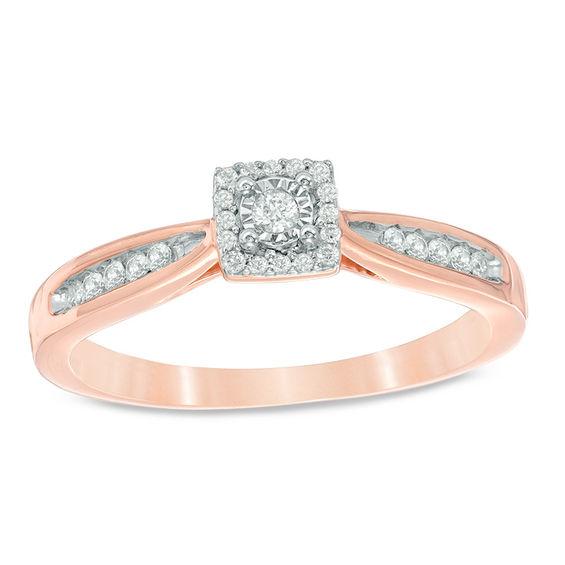 1/6 CT. T.w. Diamond Square Frame Promise Ring In 10K Rose