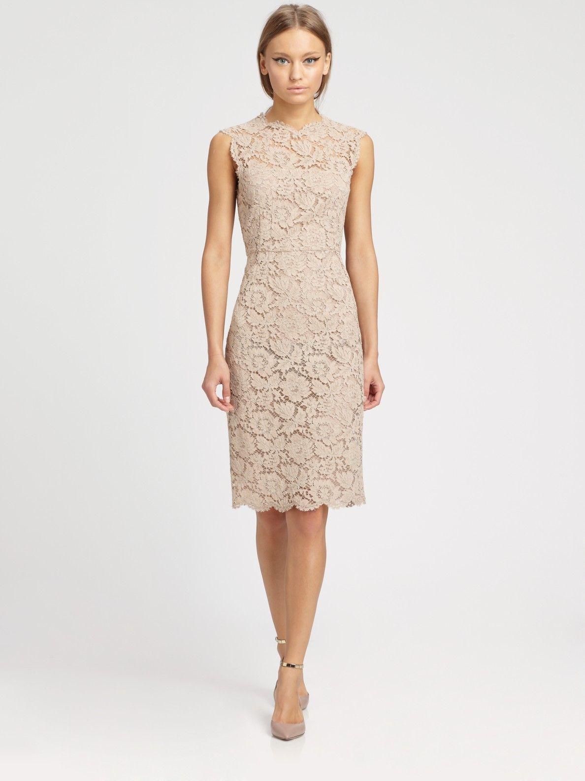 Women\'s Natural Tonal Lace Dress