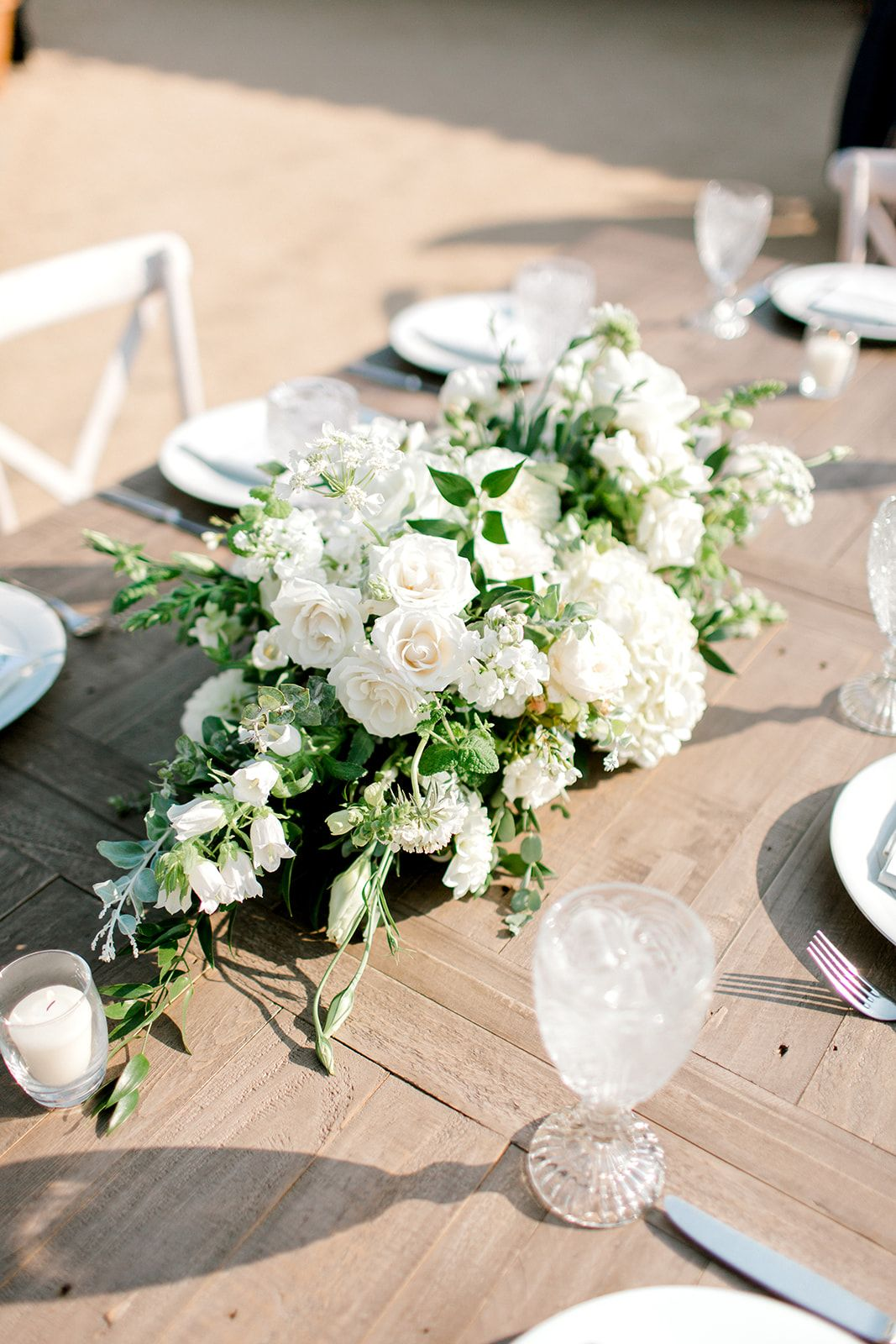 feasting table centerpiece with white flowers and eucalyptus rh pinterest com