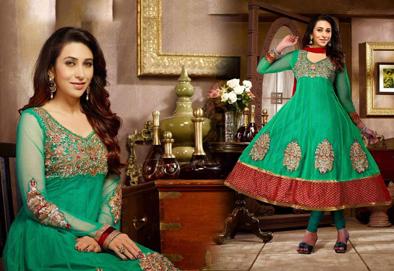 Usd karisma kapoor green net butta work anarkali suit long