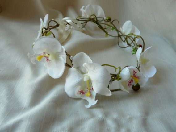 Bridal Floral Headband Wedding Hair Halo Orchid Hair Accessory Bridal Flower Hair Garland Orchid Flower Crown Floral Bridal Headbands Bridal Hair Flowers Flower Garland Wedding