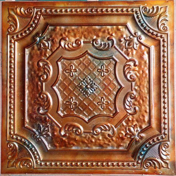 PL04 faux tin metalline ancient copper patina ceiling tiles 3D